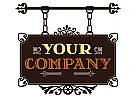 Antikes Ladenschild, verziert, für Geschäfte und Gastronomie