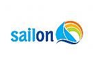 Zeichen, Signet, Logo, Segelboot, Regenbogen
