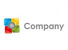 Rechtecke und Kugel, farbig Logo