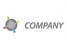 Vier Pfeile und Kreis Logo.