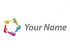 Zeichen, Skizze, Stern, Team, Fünf Personen, Logo