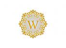 Logo, Buchstaben W, mode, butike, orientalisch, vintage, Gold, Schmuck, Meile, Blumen