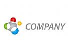 Zeichen, Skizze, Fünf Kreise, farbig, Verbindung, Netzwerk, Logo