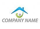 Ökologisch, Zeichen, Zeichnung, Person, Haus, Hausverwaltung, Logo