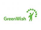 Ökologie, Mensch, Natur, organisch, gesundheit, blume, blatt, Vegetarier, Samen, Garten, Logo