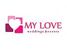 Logo liebe, herz, Flirt, Ehe, Fotografie, Hochzeits, Dating