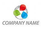 Tropfen und Kreis, farbig Logo