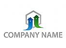 Ökohäuser, Zwei Häuser, Immobilien, Logo