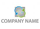 Zwei Pfeile und Rechteck Logo