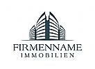 Gebäude Logo, Architektur, Wolkenkratzer, Makler, Architekten, Finanz, Investitions