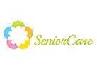 Pflege, Krankenpflege, häusliche Pflege, Hilfe, Gruppe, Menschen Logo