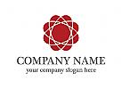 rot, atom, Verbindung Logo