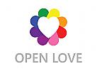Logo liebe, herz, romance, Pflege, Menschen, Gruppe