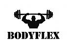 Turnhalle, Gewichte,  Fitness, Sportler, Stärke, Muskeln,Logo