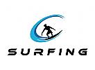 Sport, Wasser, Welle, Brandung, Surfen, Surfschule, Logo