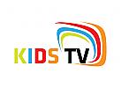 TV, Programm, Online, Bunt, Internet, Kanal, Karikatur, Kinder, Tablette, Logo