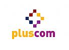 Zeichen, Signet, Logo, Pixel, Plus Symbol, IT Bereich