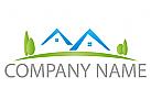 Zwei H�user und Wiese Logo