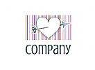 Logo mit Herz, Pfeil und Streifen