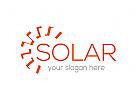 Sonne, Solar, Heizung, Energie, Panel, Einsparungen, Logo