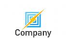 Zeichen, Signet, Logo, Blitz, Quadrate / Elektriker