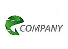 Zeichen, Zeichnung, Symbol, Rundes Logo in grün.
