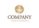 Logo mit Krone in Stempeloptik