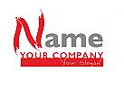 Maler Logo mit Buchtabe aus Pinselstrichen