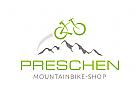 Logo mit Fahrrad, Bike und Bergen / Mountains
