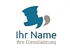 Logo mit Gesichtern und Sprechblasen für Kommunikation, Coaching,...