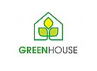Öko, Zeichen, Signet, Logo, Haus, Pflanze, Blatt, grün