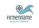 Logo mit Kompass, Wellen, Weg für Live-Coach