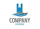 Logo mit historischem Bauwerk an einem Gew�sser