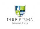 Wappen Logo mit historischem Bauwerk / Friedrichshafen