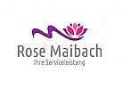 Logo mit stilisiertem M und Seerose f�r Wellness, Kosmetik, etc.