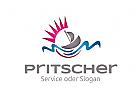 Logo mit Segelboot, Wellen und Sonne