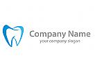 Zähnen, Zahn in blau Logo