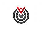 Zeichen, Signet, Logo, Zielscheibe, Pfeil Buchstabe V