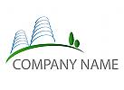 Ökohäuser, Zwei Hochhäuser, Immobilien, Logo
