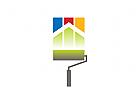 Logo Maler, Farbrolle, Haus