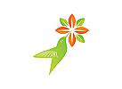 Logo Kolibri, hummingbird, vogel, blume