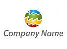 Kreis und Wellen, farbig Logo