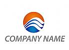 Kreis und Wellen in blau Logo