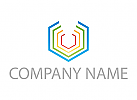 Zeichen, Skizze, Sechseck, farbig, Logo