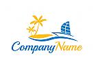 Tourismus, Reisen, Urlaub, Meer, Logo