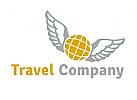 Logo Reisen und Transport, Globus mit Fl�geln