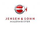 Logo Maler, Pinsel, Farbtopf