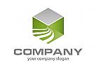 Sechseck und Wellen Logo