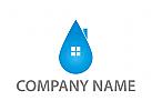Zeichen, Zeichnung, Tropfen, Haus, Pflege, Reinigung, Logo