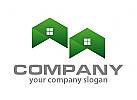 Zwei H�user, D�cher in gr�n Logo